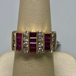 Jewelry - 18K Yellow Gold Ruby and Diamond Ring Size 6